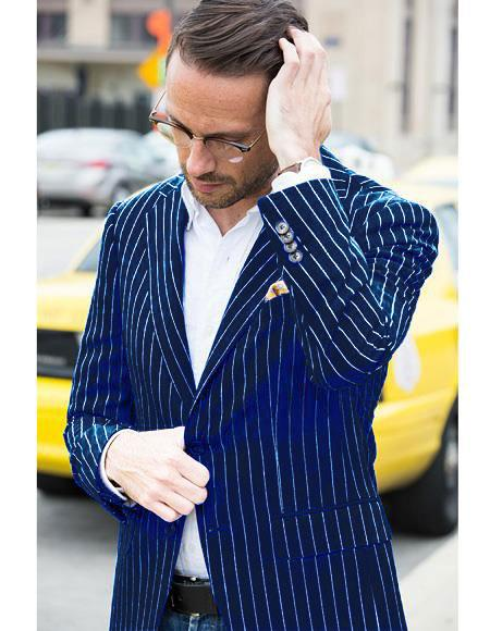 Mens Two Button Single Breasted Navy and Bold White Pinstripe Blazer
