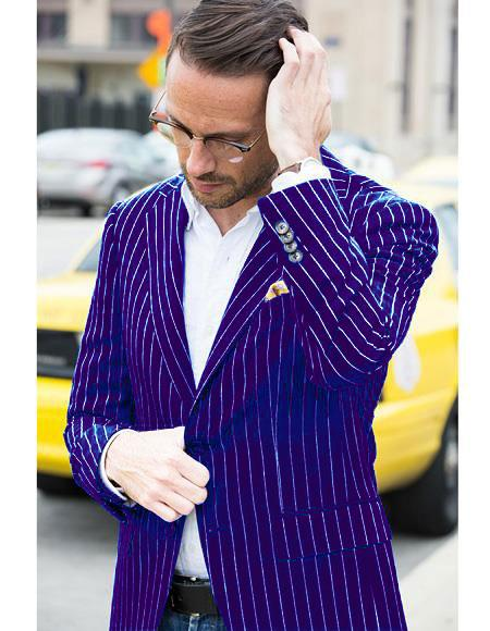 Mens Two Button Single Breasted Purple and Bold White Pinstripe Blazer - Pre order to ship 01/01/2021
