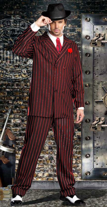 Double Breasted Bold Gangster Black with Red Pinstripe Suit