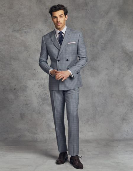 Double Breasted Slim Fit Wool Suit 4 Buttons Style By AlbertoNardoni