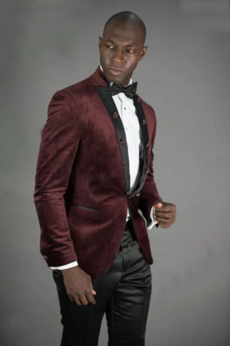Mens Peak Lapel Slim Fit Burgundy Velvet Jacket