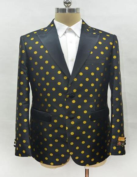 Black and Gold Polk Dot Polk~Dot Mens Fashion Blazer Sport Coat