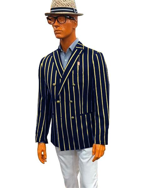Mens Double Breasted With Brass Buttons Bold Stripe Sport Coat Blazer