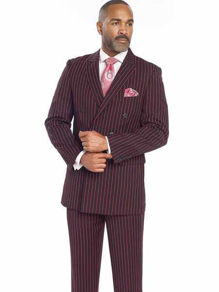 Mens Suit Separates Wool Black/Red Suit By Alberto Nardoni Brand