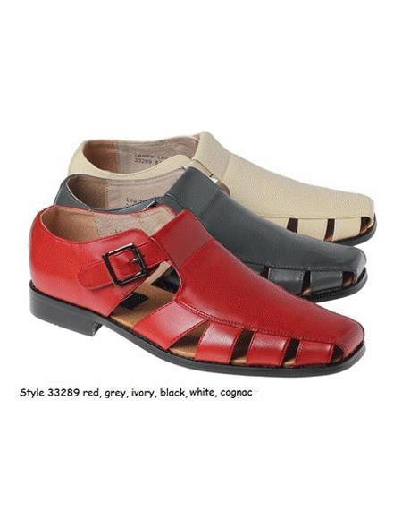 Style#JA17480 Sandals Leather Upper Available Black or Navy or Red or White or Grey