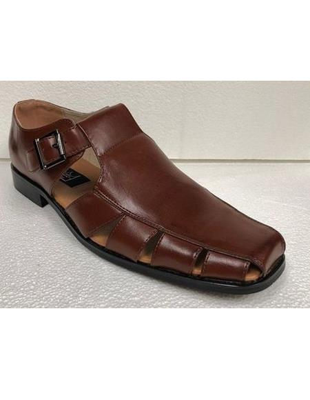 Style#JA17487 Mens Dress Sandals Cognac Brown Closed Toe