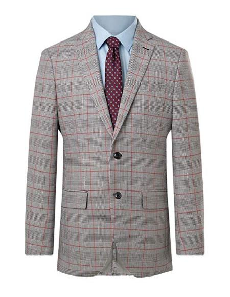 Mens Suit Jacket Regular Fit Prince of Wales Red Overcheck