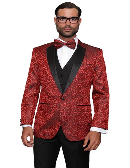 Red Fashion Prom / Wedding / Stage Blazer Plus Bowtie Also Available in Big and Tall Perfect For Prom Clothe - Prom Outfits For Guys