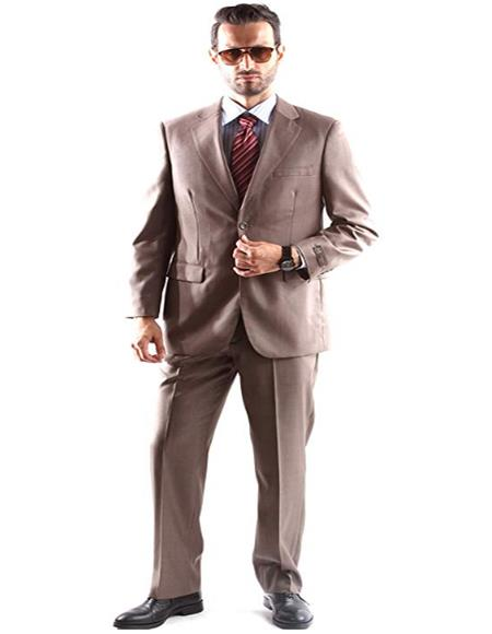 Mens Single Breasted Two Button Dress Suit Light Brown