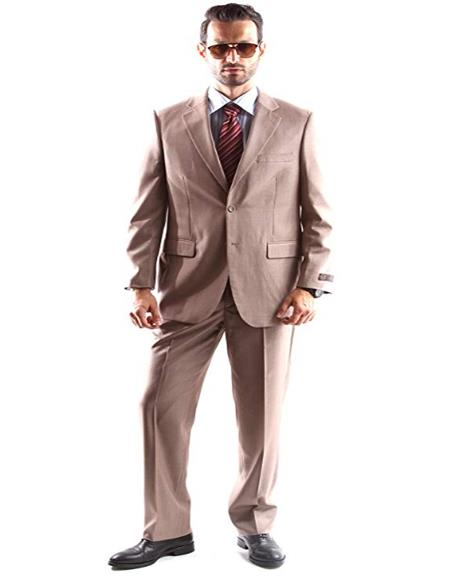 Mens Single Breasted Two Button Dress Suit Tan