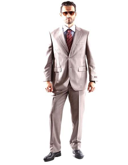 Mens Single Breasted Two Button Dress Suit Light Taupe