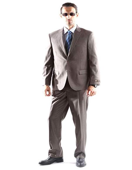 Mens Single Breasted Two Button Dress Suit Taupe