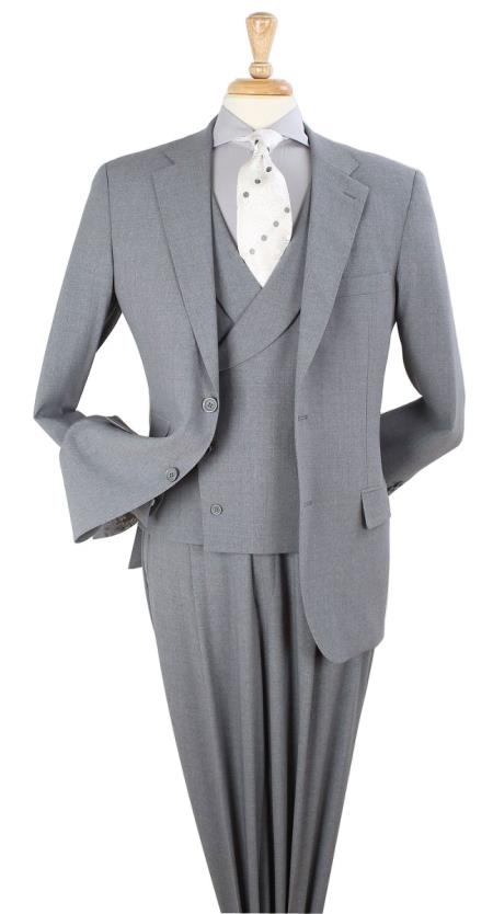 Apollo King Men's 3pc 100% Wool Classic Fit Suit - Double Breasted Vest Pleated Pants Solid Gray