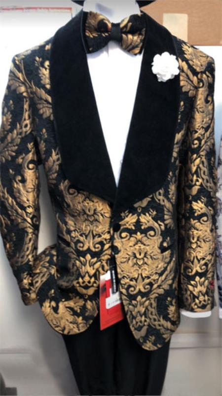 Black and Gold One Button Shawl Lapel Suit