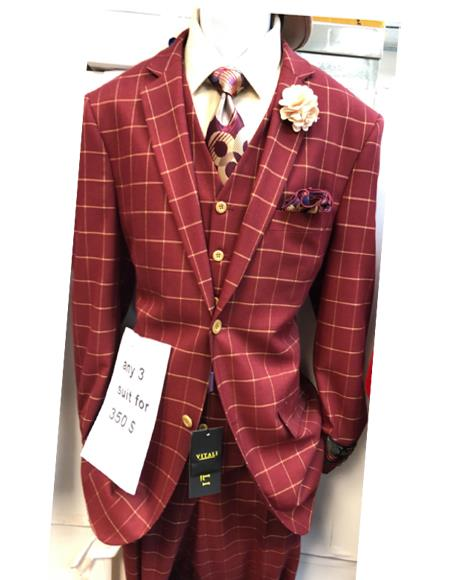 Mens Red Two Button Single Breasted One Chest Pocket Dress Suit