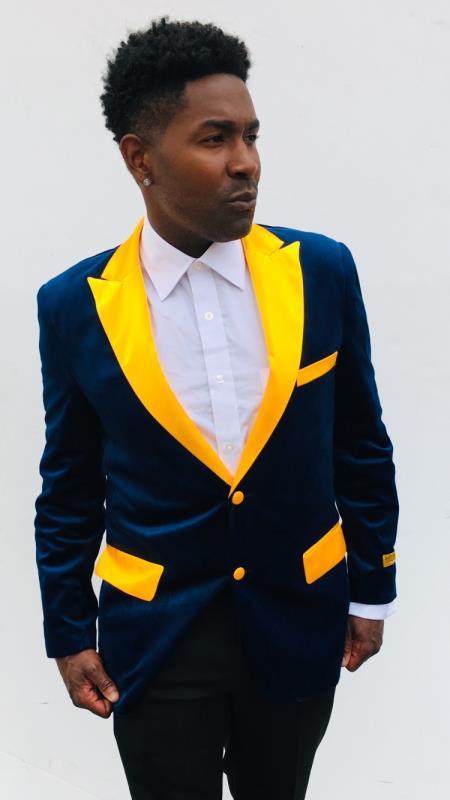 Navy Blue and Goldish Yellowish Lapel Velvet Jacket Sport Coat Blazer With Matching Bowtie