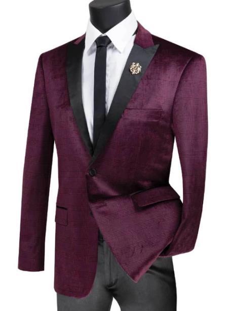 Mens Ruby Peak Lapel Two Button Velvet Plaid ~ Window Pane Velvet Tuxedo