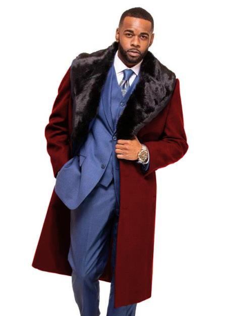 Burgundy Overcoat ~ Topcoat With Fur Collar in Cashmere and Wool Fabric Alberto Nardoni