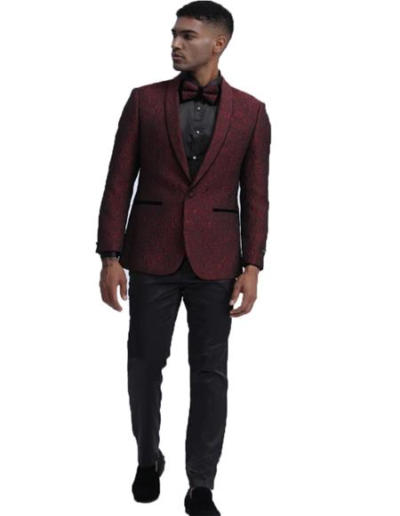 Burgundy One Button Closure Shawl Lapel Slim Fit Tuxedo Dinner Jacket for Mens
