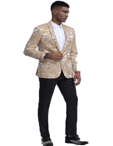 Mens Gold Floral Pattern Slim Fit Shawl Lapel Tuxedo For Prom & Wedding Perfect For Prom Clothe - Prom Outfits For Guys