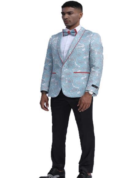 Mens Sky Blue Single Breasted Slim Fit Tuxedo for Wedding