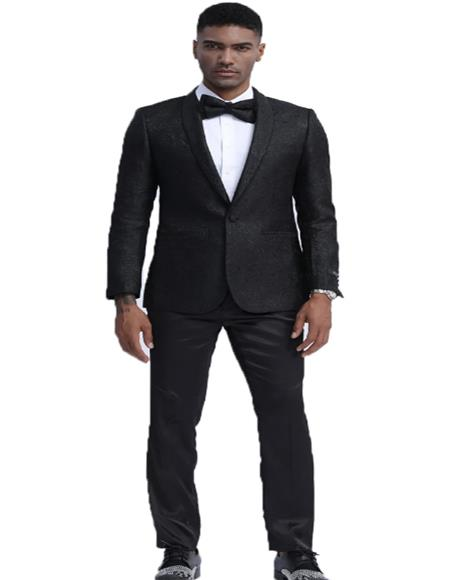 Mens Black Slim Fit Floral Pattern Fashion Tuxedo