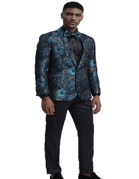 Mens One Chest Pocket Floral Pattern Slim Fit Dinner Jacket