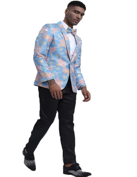 Mens Blue & Pink One Button Closure Floral Pattern Fashion Blazer Perfect for Prom & Wedding Perfect For Prom Clothe - Prom Outfits For Guys