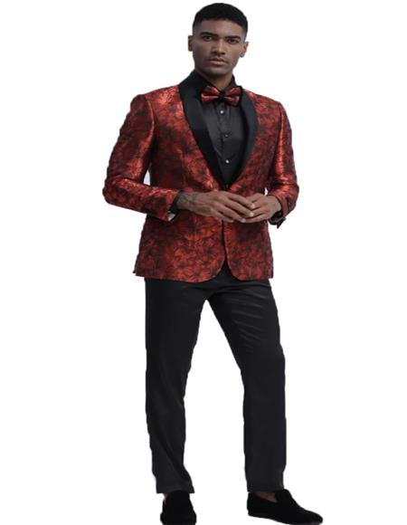 Mens Red Single Breasted Floral Pattern Slim Fit Tuxedo Dinner Jacket For Wedding and Prom Perfect For Prom Clothe - Prom Outfits For Guys