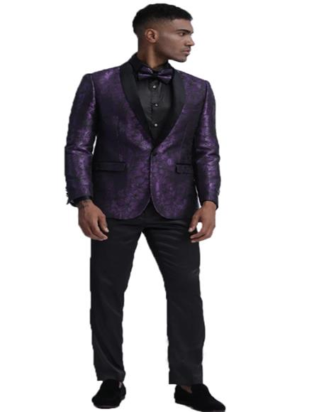 Mens Purple Cheap Priced Floral Pattern One Button Closure Fashion Blazer Perfect for Prom Perfect For Prom Clothe - Prom Outfits For Guys