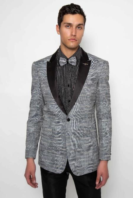 Mens Black Long Sleeve Pattern Design Fashion Dress Casual Blazer On Sale