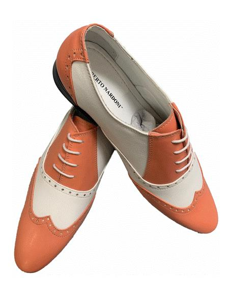 Peach ~ Coral ~ Salmon Two Toned Dress Wing Tip Shoe