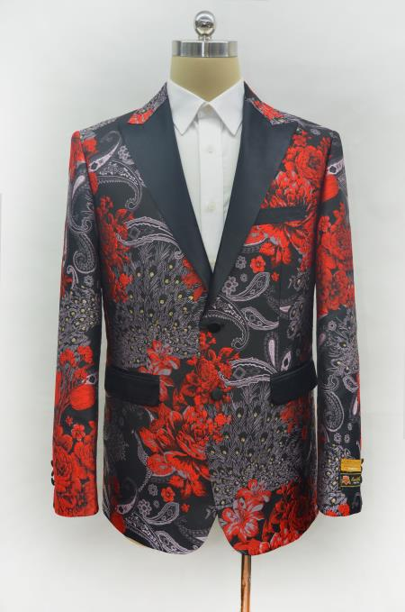 Mens Red Two Button Peak Lapel Two Flap Front Pockets Prom Blazer Perfect For Prom Clothe - Prom Outfits For Guys
