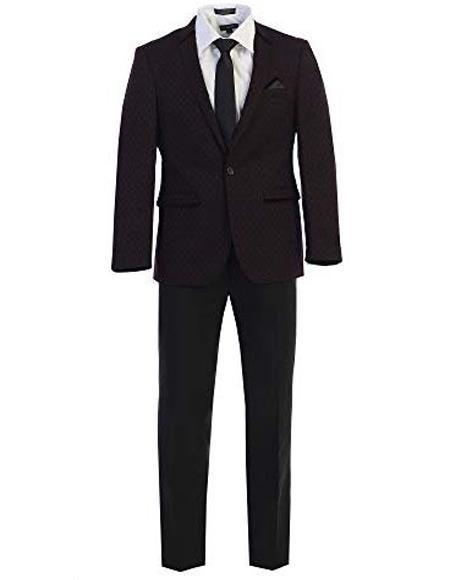 Notch Lapel Pattern Texture Black Fashion Sport Coat For Mens