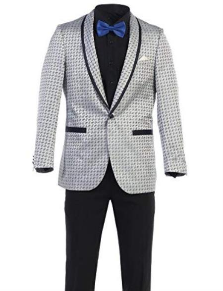 Mens White ~ Black Shawl Lapel One Chest Pocket Dinner Jackets