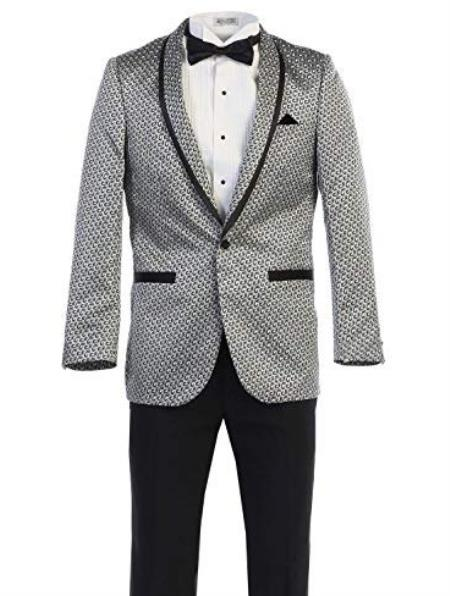 Mens White ~ Black Pattern Texture One Chest Pocket Fancy Blazers Dinner Jackets