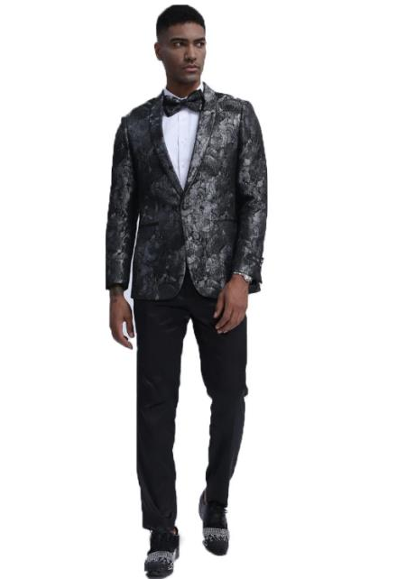 Slim Fit Prom ~ Wedding Tuxedo Suit (Jacket & Pants) + Matching bow tie  ~ Floral Pattern Fashion + Black and Silver