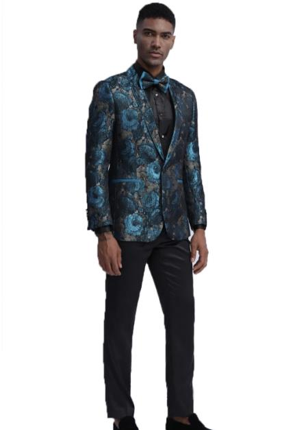 Shawl Lapel Floral Pattern Slim Fit Wedding Tuxedo for Mens