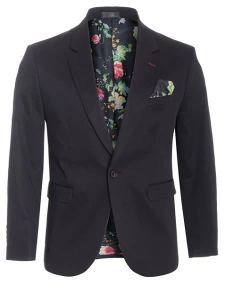 Mens Cotton Stretch Slim Fit Blazer Black