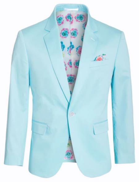 Mens Cotton Stretch Slim Fit Blazer Turquoise
