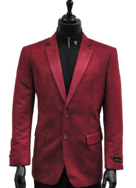 Men Cranberry Wine Micro Suede 2 Button Dress Casual Work Blazer