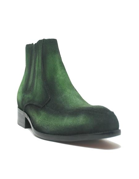 Mens Dress Ankle Boots Leather Suede Chelsea Boots In Emerald and Red