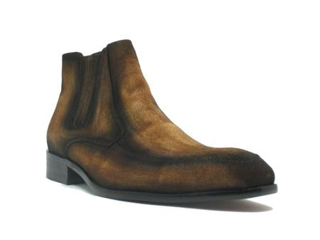 Mens Dress Ankle Boots Leather Suede Chelsea Boots In Cognac