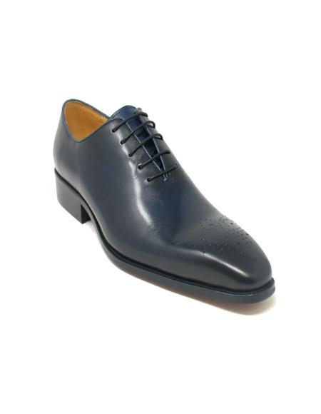 Carrucci Whole Cut Oxford In Navy