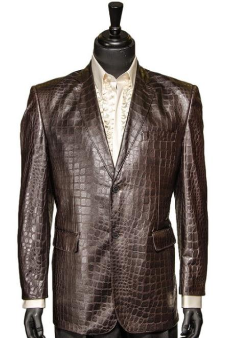 Zacchi Chocolate Brown Vegan Faux Leather Croc Pattern 2 Button Casual Blazer