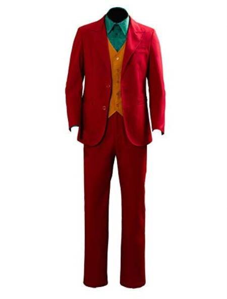 Mens Red With Orange Vest Joker Custom Suit