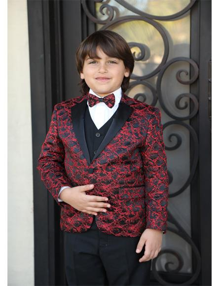 Mens Red Textured Pattern Wool Blend Notch Lapel Suit
