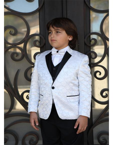 White Notch Lapel Textured Pattern Wool Blend Suit For Mens