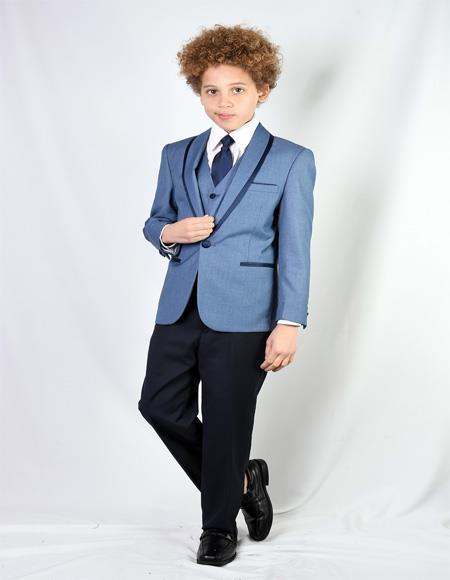 Blue Textured Pattern Shawl Lapel Wool Blend Suit For Mens