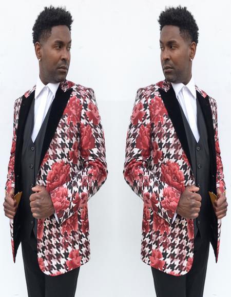Mens Black ~ Rose Peak Lapel One Chest Pocket Suit